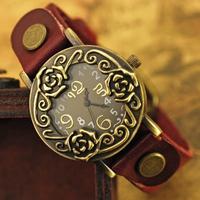 Free Shipping Unique Beautiful Rose Flower Design Wristwatches Vintage Retro Women Quartz Dress watches Ladies Clock relogio