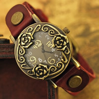 lots wholesale discount, unique beautiful flower design women's ladies fashion wrist quartz watches vintage style leather band