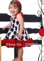 Girls' Dresses 2013 New summer Girl Dot printed lace suspenders Dress 5pcs/lot