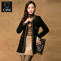 C . vivi autumn and winter outerwear new arrival classic small plus size small suit jacket long design ladies overcoat