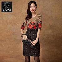 2014C . vivi women's new arrival vintage embroidered one-piece dress basic lace patchwork flower dress women fashion dress