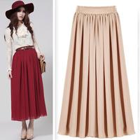 2014 new women's fashion  vintage bohemia chiffon beach long  plus size long chiffon summer beach accordion pleated skirt