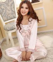 New!Spring and autumn Women's faux silk sleepwear plus size long sleeve sets+short sleeve sets,silk lounge summer pajamas