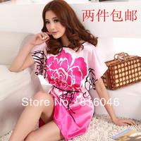 Sleepwear autumn Women nightgown faux silk sleepwear flower plus size lounge maternity nightgown