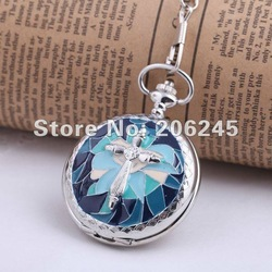 DHL/EMS Free shipping,Fashion gift,Quartz Sliver plating Case Pocket watch with chain, wholesale watches(China (Mainland))