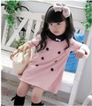 5pcs baby girls princess button dress children long sleeve double breasted dress kids clothing free shipping
