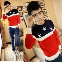 Men sweater american flag o-neck pullover sweater all-match sweater