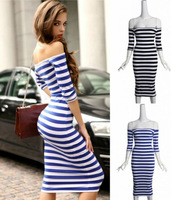 Sexy Women Off Shoulder Striped Wiggle Bodycon Stretch Cocktail Club Party Dress Free Shipping Wholesale