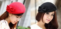 ladies's girl woman fashion bowknot top berets hat Beanies Cap Autumn Spring Winter multi color option wholesale