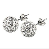 Classic design 925 sterling silver & AAA zircon & platinum plated female stud earrings wholesale price free shipping