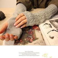 Free Shipping New Fashion Skin care Fingerless Mitten Long Sleeve Gloves women's braided knit Arm warmer fingerless long gloves