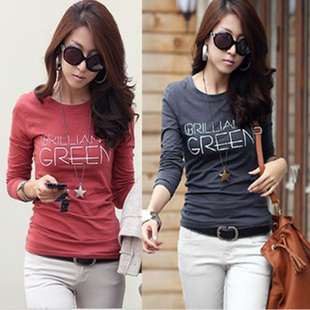 2013 women's o-neck letter print 100% cotton long-sleeve T-shirt slim basic shirt S,M,L,XL