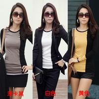 2012 autumn and winter o-neck button decoration color block slim basic shirt long-sleeve T-shirt female S,M,L,XL