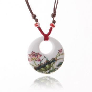 Handmade ceramic jewelry applique ceramic national trend necklace fresh golden lotus