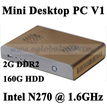 Pre-installed Windows 7 professinal Mini Desktop PC, Mini PC Intel Atom N270 CPU, MAC Mini Computers connection terminator