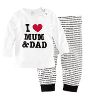 6sets/lot Cotton baby pajamas set I love mum & Dad sleepwear long sleeve top+trousers homewear