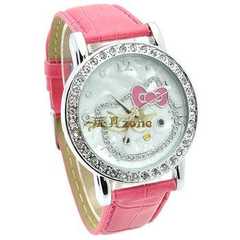 Nice Cute MC Lady's Wrist Watch Indicate Time Quartz Dial Diamond Leather Band
