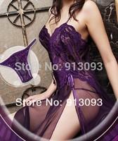 Sky Blue Sexy Lingerie Style Ladies Robes Night Gown Nightwear Sexy Underwear Long DressT688