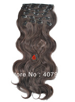 cheap  synthetic clip in wavy hair extensions 18 20 22 24 inch   10pcs140g set  #6 Medium Brown