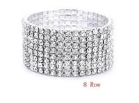 Fashion 8 row stretch cuff bracelet  8 ROW Crystal Rhinestone Stretch Bangle Wedding Bridal Brecelet Free Shipping Promotion