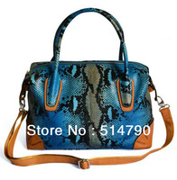 2012 European Fashion Python/Snake  Pattern  Genuine Calf Leather Boston Bag/Shoulder Bag + 4colors