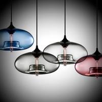 Qy fashion vintage glass brief bar pendant light