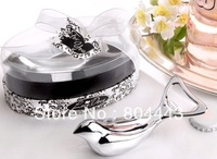 "Free shipping 50pcs/lot Wedding favor--""Love Dove"" Silver Chrome Bottle Opener in Elegant Oval Showcase Giftbox to US by FEDEX"