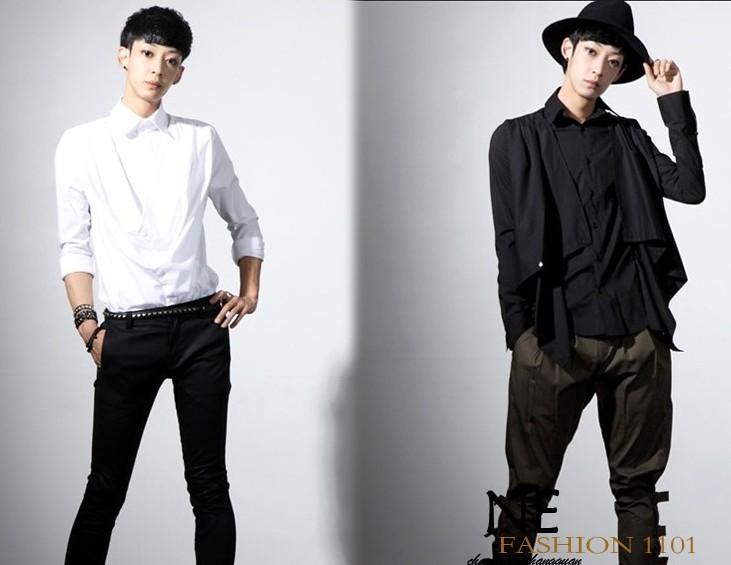 Hot New 2015 Causal Harakaju men's shirts, punk rock men's clothing, Vintage Dress long-sleeve shirt ,Black white,free shipping!(China (Mainland))
