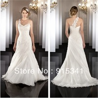 Delightful A-line Sweetheart Appliqued Organza Removable One Shoulder 2013 Modern Bridal Dress