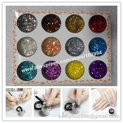 FREE SHIPPING 20SET Super Shiny Nail Glitter Flakes Decoration 3D Nail Art Decorative Materials 12 Color per Set DIY Nail Item(China (Mainland))