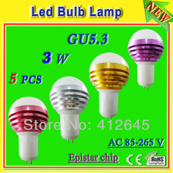 3w gu5.3 low heat light bulbs 300 lumen ac85-265v aluminum profile high power 3x1w epistar led warm / white light free shipping(China (Mainland))