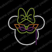 Free Shipping Fast Turnaround Wholesale Minnie Mouse Mardi Gras Design Rhinestone Transfers Iron On Motif Free Custom Service