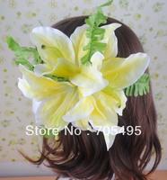 New Arrival Fabric Big Triple Lily Hair Flower Artificial Lily Hawaiian Hair Flower Wedding Bridal Hair Decoration Flower