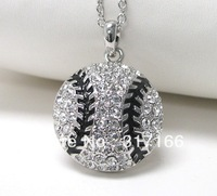 free shipping crystal stud baseball pendant necklace sports jewelry