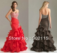 Ready To Ship!! Beaded Sweetheart Organza Evening Dress Fashion 2012 Pageant Evening Gowns