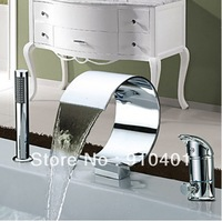 Brand New Chrome Finish Modern Roman BathTub Faucet Curved Shape Waterfall w/ Hand Held Shower Sprary Free Shipping
