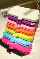 Free shipping!Women Rubber Silicone Cosmetic Makeup Bag Coin Purse Wallet Cellphone Case Pouch