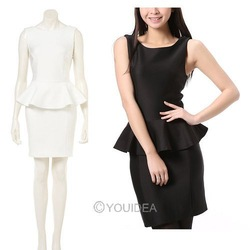 New 2013 Dress Victoria period style classic Sexy Lady's OL Dress Suit Sleeveless Frill Peplum Tops Bodycon Pencil Skirts New(China (Mainland))