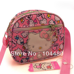 2013 new arrival fashion style hello kitty pink tote handbag cartoon shoulder bag with zipper outside bag free shipping(China (Mainland))