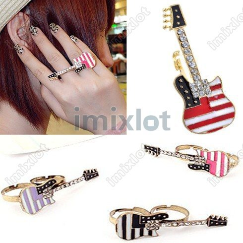 20% OFF NEW FASHION Gothic Punk Retro Vintage Antique Mixed Colors Guitar Double Finger Rings 30pcs/lot(China (Mainland))
