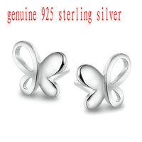 Wholesale Pure 925 Sterling Silver butterfly stud earrings fine jewelry new arrival ED003