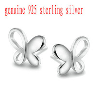 Wholesale Pure 925 Sterling Silver butterfly stud earrings fine jewelry new arrival ED003