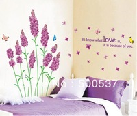 JM7182 New removable vinyl wall stickers Purple Love lavender and butterfly home decor wall decals JM7182 Free ship 100pcs mixed