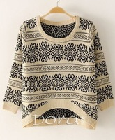 2014 New Fashion Snowflakes Printed Sweaters Women's Knitted Pullovers Short Front Long Back Patten Knitwear CO-176
