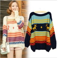 IRIS Knitting CO-086 Fashion Fawn Striped Sweaters Women's Loose Knitted Pullovers Casual Wear