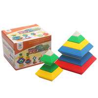 hot drop Baby educational early learning toy rhombus blocks plastic pyramid magic cube toy free shipping
