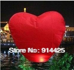Pure Color Wishing Lamp, Heart Shape Sky Lanterns,SKY Chinese Lanterns Birthday Wedding Party ,Lamp10pcs/lot(China (Mainland))