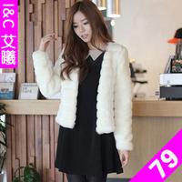 Free shipping  Winter 2013 rex rabbit hair fur coat short design outerwear overcoat female lady clothing
