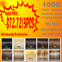 virgin brazilian weaving/weave hair extension 6# 4/613# 8/613# each color, 300g/lot, wholesale 15 inch 3 pcs lot free shipping