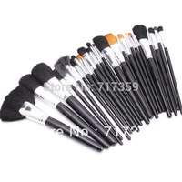 1set /Lot, 24pcs Each Set Professional Makeup Cosmetic Brush Set Kit Case + Black Leather Case, Free Shipping 600086